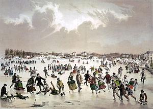 Jamaica Pond - Image: Jamaica Pond, Wext Roxbury, MA skating scene (1859)