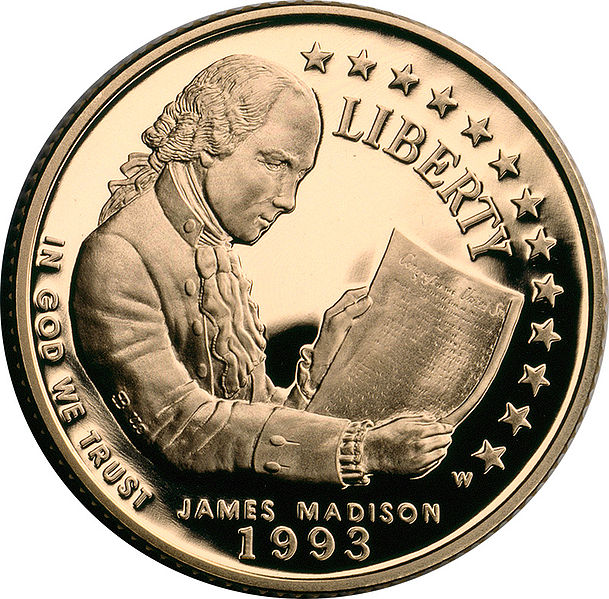 File:James Madison Bill of Rights $5 commemorative obverse.jpg
