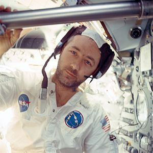 "James McDivitt - McDivitt inside Command Module ""Gumdrop"" during Apollo 9 mission"
