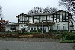 ehemaliger Bahnhof Lilienthal der ehemaligen Kleinbahn Bremen-Tarmstedt, genannt Jan Reiners, Ansicht von Süden. Standort: Lilienthal/Niedersachsen