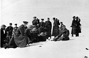 Anders' Army - Officers of the Polish and Soviet armies during exercises in the winter of 1941. Władysław Anders is sitting on the right.