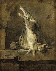 Lapin mort et Attirail de chasse