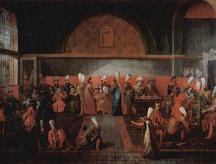 Réception de l'Ambassadeur de France, le vicomte d'Andrezel, par le Sultan Ahmed III, le 17 octobre 1724, à Constantinople : le dîner offert par le Grand Vizir Ibrahim Pacha