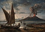 Johan Christian Dahl - Boats on the Beach near Naples - Vesuv i utbrudd - KODE Art Museums and Composer Homes - BB.M.00335.jpg