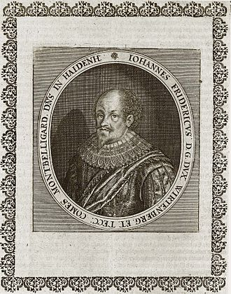 John Frederick, Duke of Württemberg - Copperplate portrait of John Frederick taken from Matthäus Merian' Theatrum Europaeum of 1662