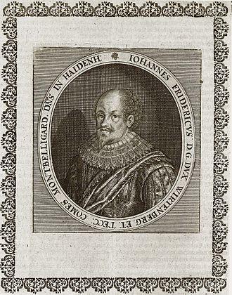 John Frederick, Duke of Württemberg - Copperplate portrait of John Frederick taken from Matthäus Merian' Theatrum Europaeum of 1662