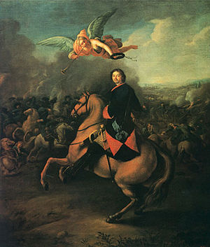 Johann Gottfried Tannauer - Tsar Peter I at the Battle of Poltava.