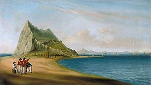 Painting of a panoramic view from the Spanish lines, showing four men, two in British Army uniform, looking across a sandy isthmus towards the Rock of Gibraltar with the bay and the African coast visible in the background