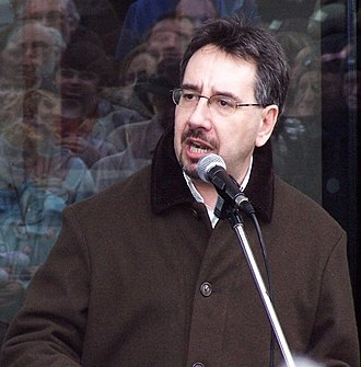 John Rees (activist) - At a demonstration in 2008 against Condoleezza Rice in Liverpool.