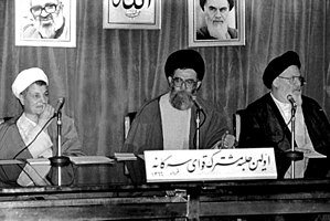 Government of Islamic Republic of Iran - Joint Tripartite Meeting of Iranian Government ,June 2, 1987.Speaker of the Parliament  Hashemi Rafsanjani (left), President Ali Khamenei (middle) and Head of Supreme Court   Mousavi Ardebili (right).