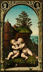 Holy Infants Embracing (outside a doorway)