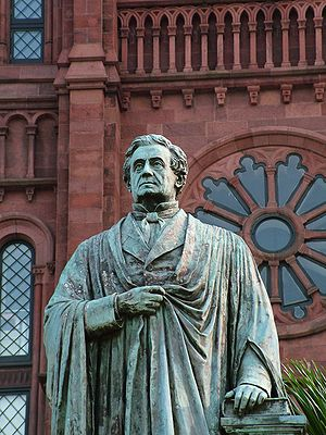Statue of James Smithson in front of the Smithsonian Castle in Washington D.C.