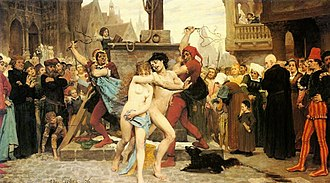 Adultery - Le supplice des adultères, by Jules Arsène Garnier, showing two adulterers being punished