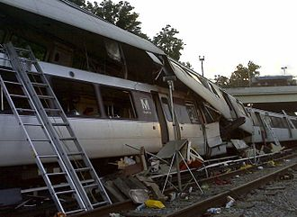 June 2009 Washington Metro train collision - NTSB photo of accident scene