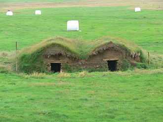 Sod house - A sod farm structure in Iceland