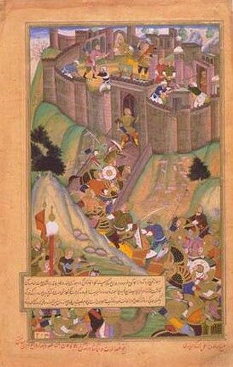 Hulagu Khan - A Mughal painting of Hulagu's siege of Alamut.