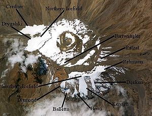 Furtwängler Glacier - NASA image from 2004 with locations of major glaciers on Mount Kilimanjaro. Areas not identified are generally small remnant glaciers or snowfields. Click on image for detail.