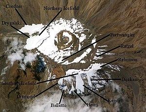 Arrow Glacier - NASA image from 2004 with locations of major glaciers on Mount Kilimanjaro. Arrow Glacier is unmarked at bottom left near Diamond Glacier. Click on image to expand.