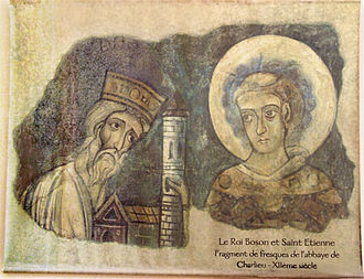 Boso of Provence - Fragment of a fresco at Charlieu Abbey, depicting a humbled Boso left of the Protomartyr Stephen.