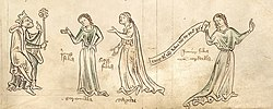 King Leir and his daughters, marginal illustration in the Chronica Majora, c. 1250.jpg