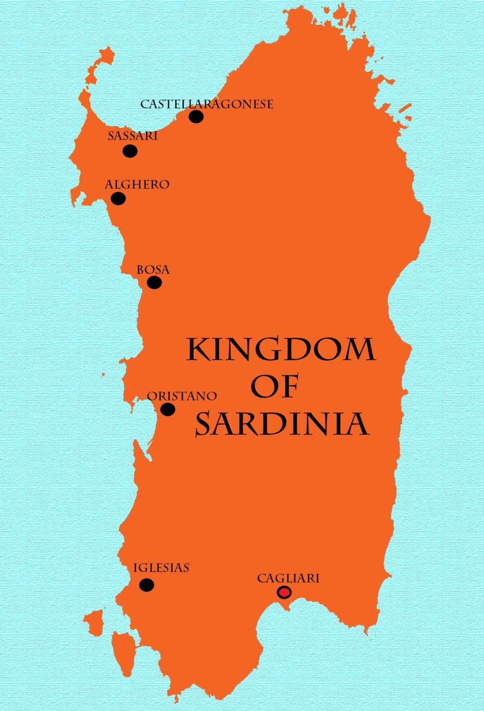 Kingdom of Sardinia & Royal cities - 16th century