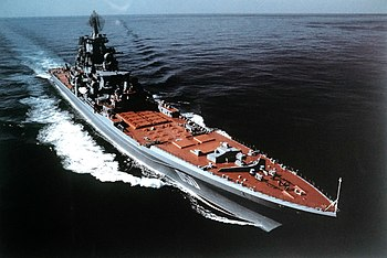 A starboard bow view of the Soviet Kirov Class...