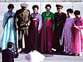 Korean People's Army Soldiers pose for a photo as preparations for a repatriation ceremony are made at the Panmunjom Joint Security Area on 981106-F-AF179-016.jpg