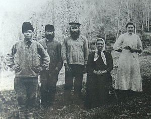 History of Sochi - Koshman (middle) with his wife (to the right) and assistants in Solokhaul ca. 1910