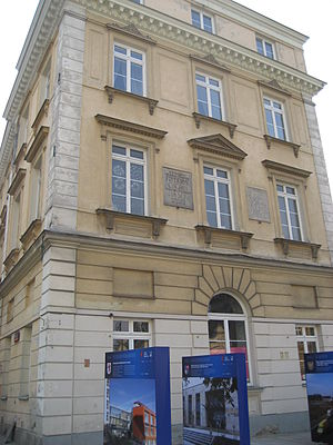 "Cyprian Norwid - South annex of Czapski Palace (Krakowskie Przedmieście 5, Warsaw), where Chopin lived to 1830. In 1837–39 Norwid studied  painting here; later he penned ""Chopin's Piano"", about Russian troops' 1863 defenestration of the piano."