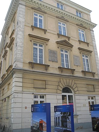 """Cyprian Norwid - South annex of Czapski Palace (Krakowskie Przedmieście 5, Warsaw), where Chopin lived to 1830. In 1837–39 Norwid studied  painting here; later he penned """"Chopin's Piano"""", about Russian troops' 1863 defenestration of the piano."""