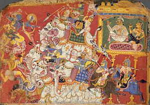 Satyabhama - Krishna and Satyabhama fighting Narakasura's Akshauhini -Painting from the Metropolitan Museum