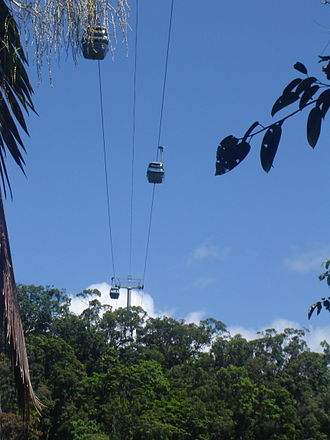 Cairns - Skyrail Rainforest Cableway over the rainforest.