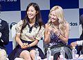Kwon Yu-ri and Kim Hyo-yeon at the Dancing 9 press conference 02.jpg