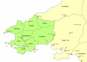 Kingdom of Dyfed - Map showing Dyfed, after the late 7th century, showing its seven cantrefi.
