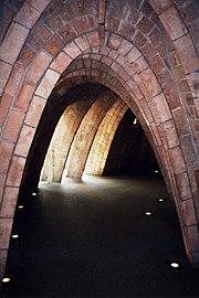 Catenary arches under the roof of Gaudí's Casa Milá, Barcelona, Spain