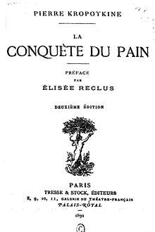 Portada de La Conquista del pan, edición francesa.