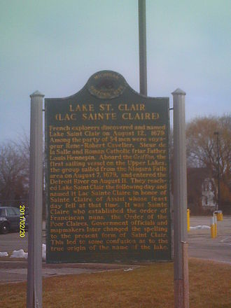 Lake St. Clair - Lac Sainte Claire historical marker, Saint Clair Shores, Michigan