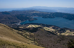 View of Lake Ashi and Hakone Town from Mount Hakone Komagatake