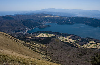 Hakone - View of Lake Ashi and Hakone Town from Mount Hakone Komagatake
