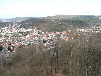 Westrich Plateau - The Sickingen Escarpment rising from Landstuhl (on the left) to the Sickingen Heights (on the right)