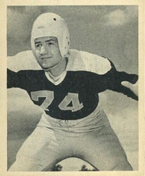Larry Olsonoski - Olsonoski on a 1948 Bowman football card