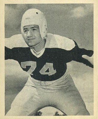 Larry Olsonoski - Olsonoski on a 1948 Bowman football card