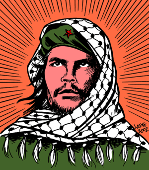 Radical chic - A 2002 political cartoon by Carlos Latuff depicting Che Guevara wearing a Palestinian keffiyeh