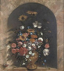 Flowers in a stone niche