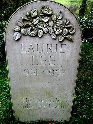 "Laurie Lee - Laurie Lee's grave within the village churchyard. The inscription reads ""He lies in the valley he loved"""