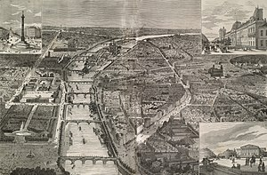 Boulevard Saint-Germain - Bird's-eye view of Paris (1878) with the new Boulevard Saint-Germain on the right