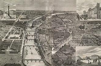Boulevard Saint-Germain - Bird's-eye view of Paris (1878) with the new Boulevard Saint-Germain on the right