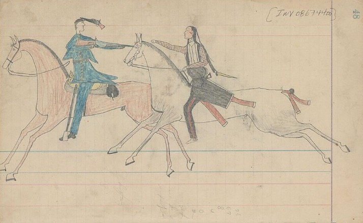 Ledger Drawing - Arapaho and U.S Soldier Fight on Horseback