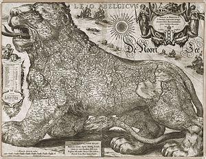 Jodocus Hondius - Leo Belgicus (1611).