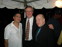 L to R: Steve Ramos, Ray Reach and Lew Soloff backstage at the Taste of 4th Avenue Jazz Festival, sponsored by the Alabama Jazz Hall of Fame in Birmingham, Alabama, September 27, 2008 (Photo by Claudia Reach)
